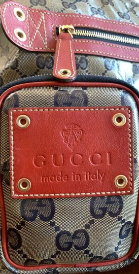 Gucci Gg Crystal Leather Voyager Tote in Red, Blue Image 1