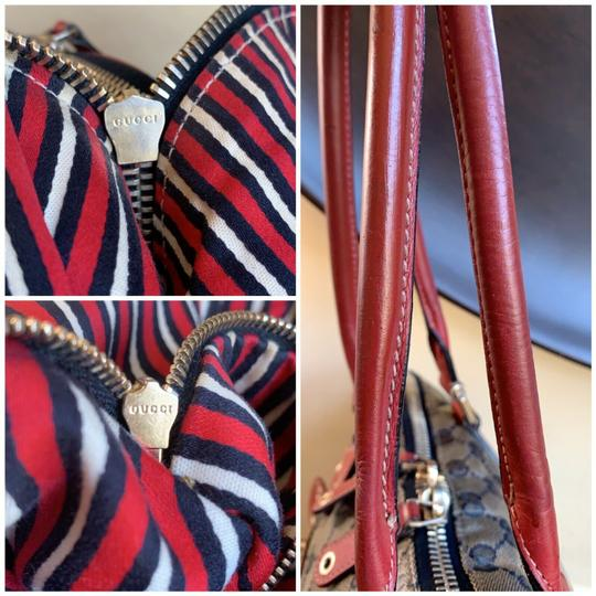 Gucci Gg Crystal Leather Voyager Tote in Red, Blue Image 10