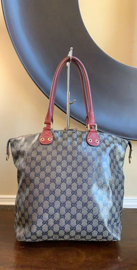 Gucci Gg Crystal Leather Voyager Tote in Red, Blue Image 2