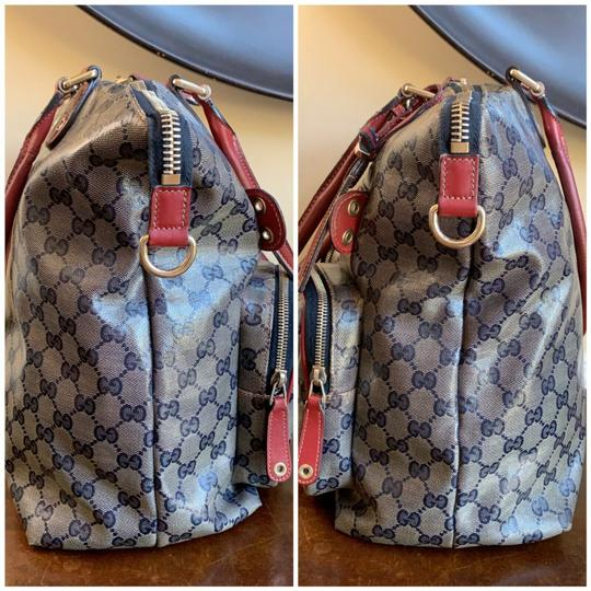 Gucci Gg Crystal Leather Voyager Tote in Red, Blue Image 5