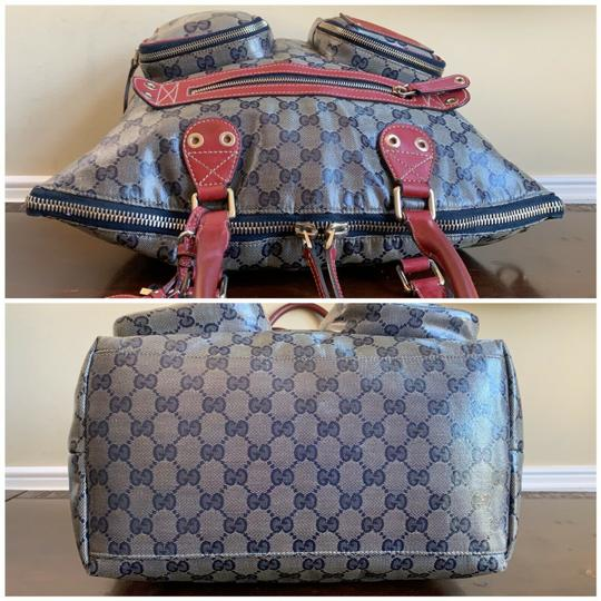 Gucci Gg Crystal Leather Voyager Tote in Red, Blue Image 6