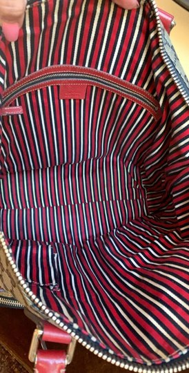Gucci Gg Crystal Leather Voyager Tote in Red, Blue Image 7