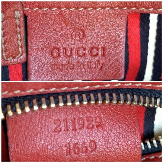 Gucci Gg Crystal Leather Voyager Tote in Red, Blue Image 8