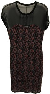 Weston Wear Sheer Lace Floral Stretchy Dress