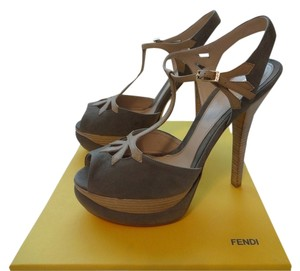 Fendi T-strap Suede Nwt Taupe/Grey Platforms