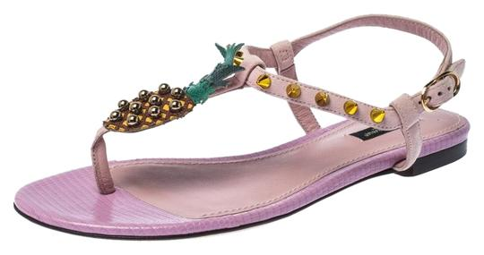 Preload https://img-static.tradesy.com/item/26167001/dolce-and-gabbana-pink-suede-leather-pineapple-embellished-flats-sandals-size-eu-37-approx-us-7-regu-0-2-540-540.jpg