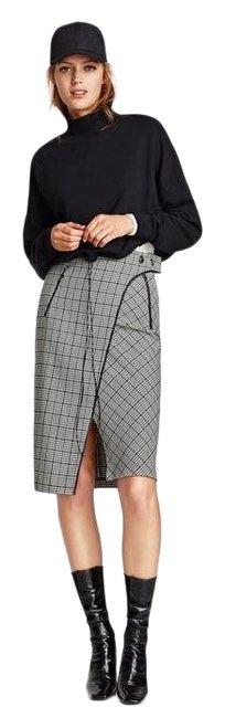 Item - Black and White Houndstooth Checked Print Wrap-style Skirt Size 16 (XL, Plus 0x)
