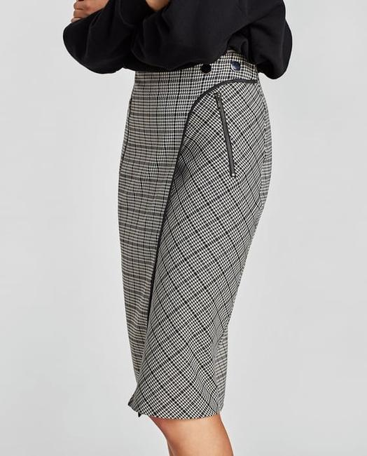 Zara Houndstooth Checked Wrap Mid-length Skirt Black and White Image 1