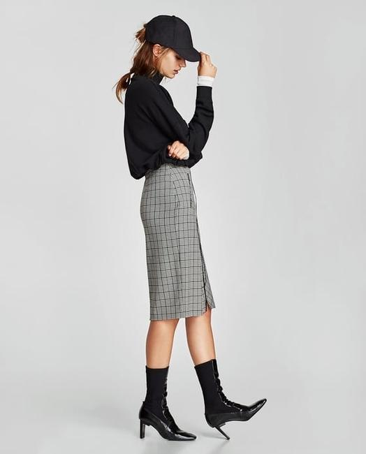 Zara Houndstooth Checked Wrap Mid-length Skirt Black and White Image 2
