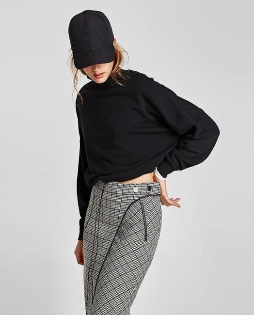 Zara Houndstooth Checked Wrap Mid-length Skirt Black and White Image 3
