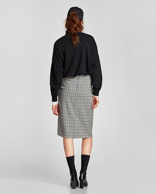 Zara Houndstooth Checked Wrap Mid-length Skirt Black and White Image 4