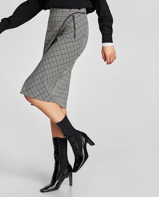 Zara Houndstooth Checked Wrap Mid-length Skirt Black and White Image 5