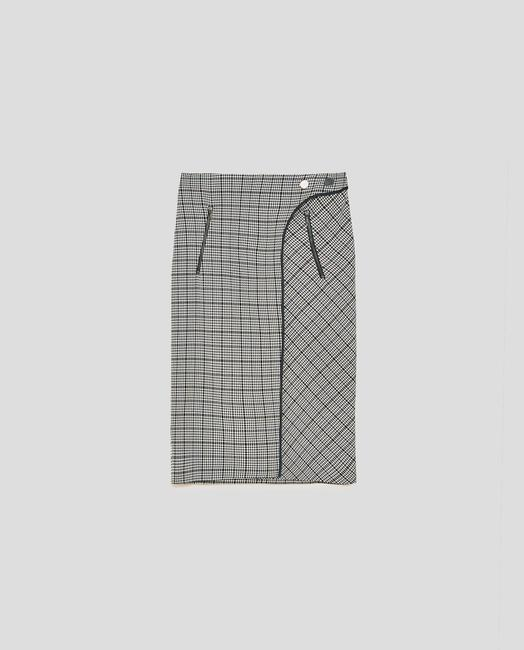 Zara Houndstooth Checked Wrap Mid-length Skirt Black and White Image 7