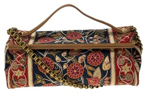 Tory Burch Embroidered Canvas Leather Multicolor Clutch
