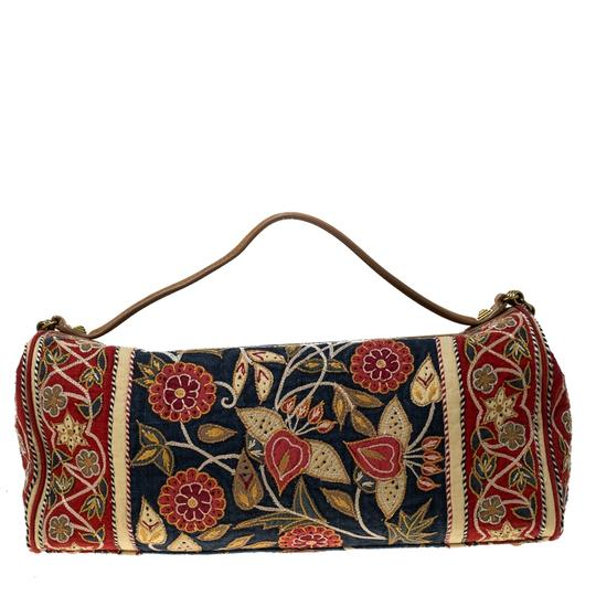 Tory Burch Embroidered Canvas Leather Multicolor Clutch Image 1