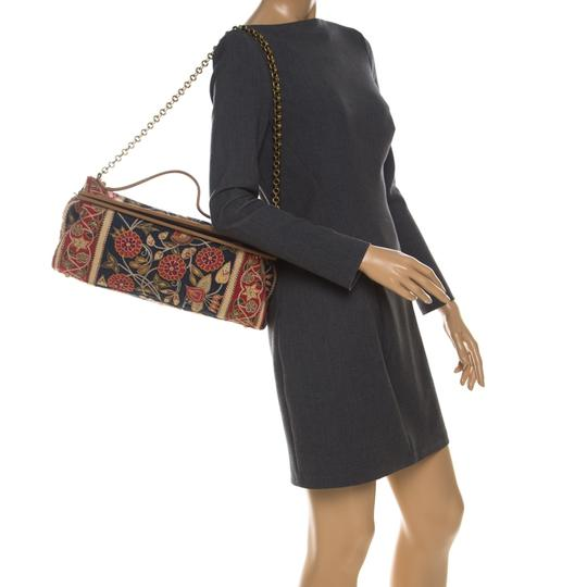 Tory Burch Embroidered Canvas Leather Multicolor Clutch Image 2