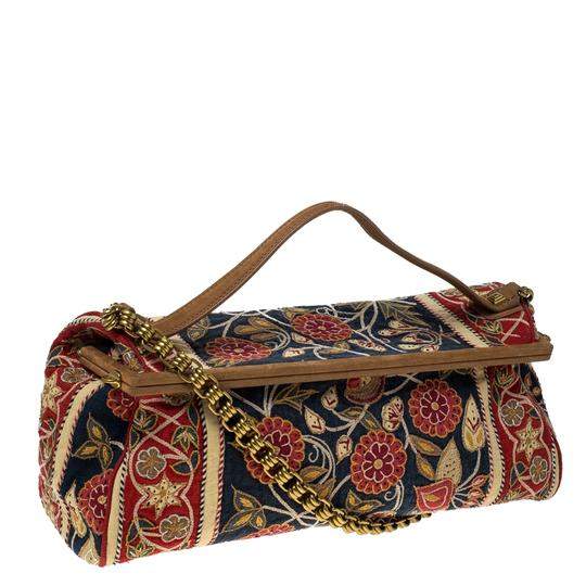 Tory Burch Embroidered Canvas Leather Multicolor Clutch Image 3
