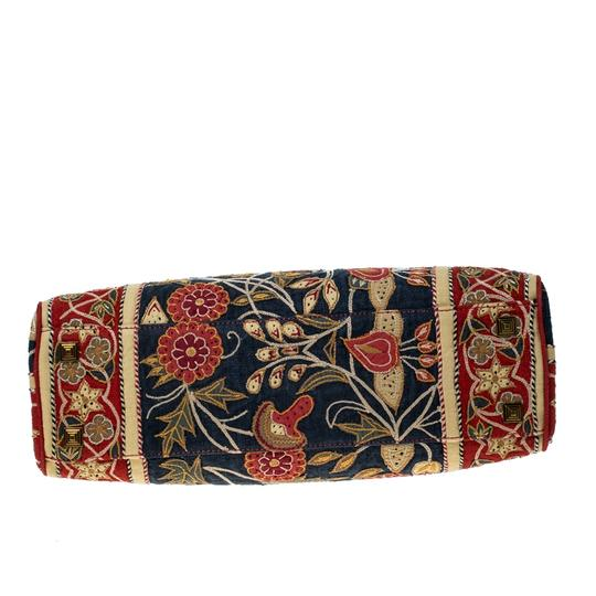 Tory Burch Embroidered Canvas Leather Multicolor Clutch Image 4