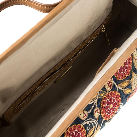 Tory Burch Embroidered Canvas Leather Multicolor Clutch Image 5