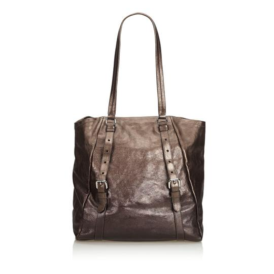 Prada 9eprto007 Vintage Leather Tote in Brown Image 3