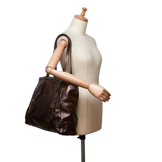 Prada 9eprto007 Vintage Leather Tote in Brown Image 5