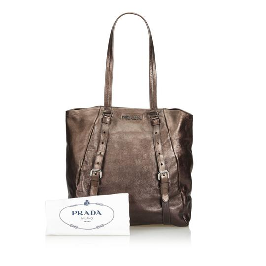 Prada 9eprto007 Vintage Leather Tote in Brown Image 7