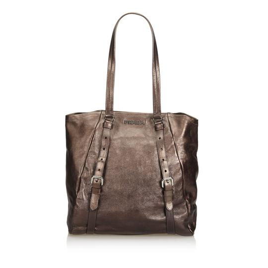 Prada 9eprto007 Vintage Leather Tote in Brown Image 9