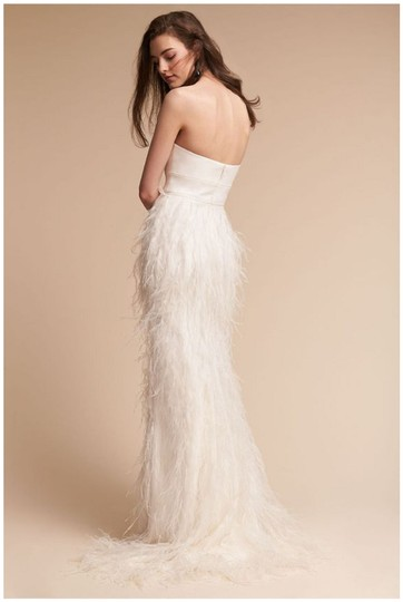 Watters Ivory Feather Whim Modern Wedding Dress Size 4 (S) Image 1