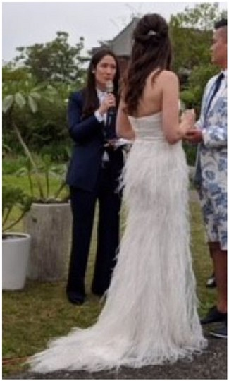Watters Ivory Feather Whim Modern Wedding Dress Size 4 (S) Image 2