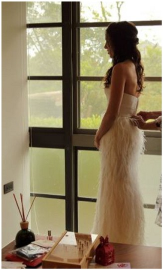 Watters Ivory Feather Whim Modern Wedding Dress Size 4 (S) Image 4