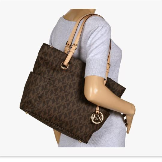 MICHAEL Michael Kors Jet Set West East Canvas Tote in Brown Image 1