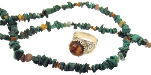 Other Multigemstone Necklace and Amber Ring Set