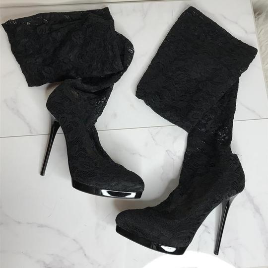 Gianmarco Lorenzi Sexy Lingerie Thigh High Stretch Lace Floral Lace Black Boots Image 1