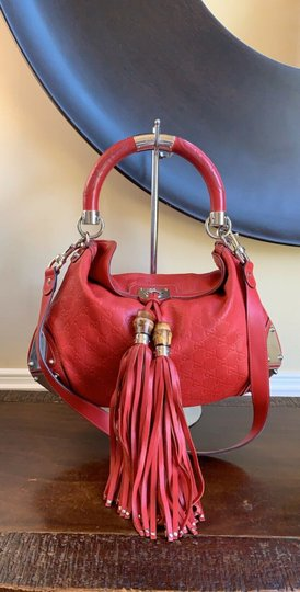 Gucci Leather Studded Bamboo Indy Hobo Shoulder Bag Image 1