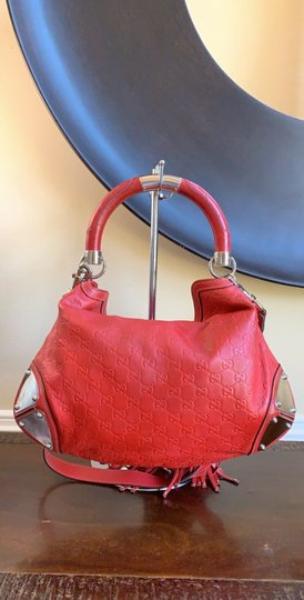 Gucci Leather Studded Bamboo Indy Hobo Shoulder Bag Image 3