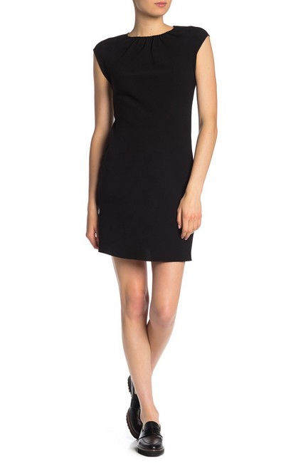 Preload https://img-static.tradesy.com/item/26167191/theory-black-new-shirred-crew-neck-cap-sleeve-sheath-short-cocktail-dress-size-12-l-0-0-650-650.jpg
