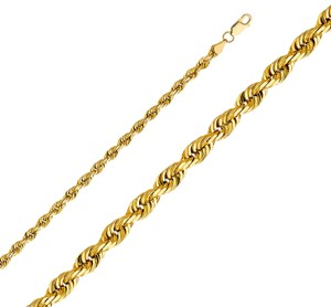 Top Gold & Diamond Jewelry 14K Yellow Gold 5mm Solid Rope Diamond cut Chain- 26