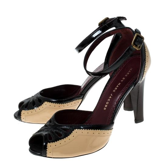 Marc by Marc Jacobs Patent Leather Ankle Strap Beige Sandals Image 4