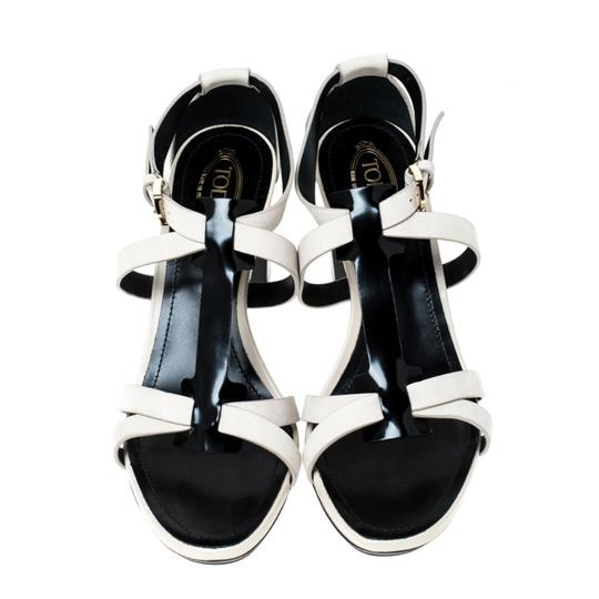 Tod's Nubuck Leather Ankle Strap White Sandals Image 2