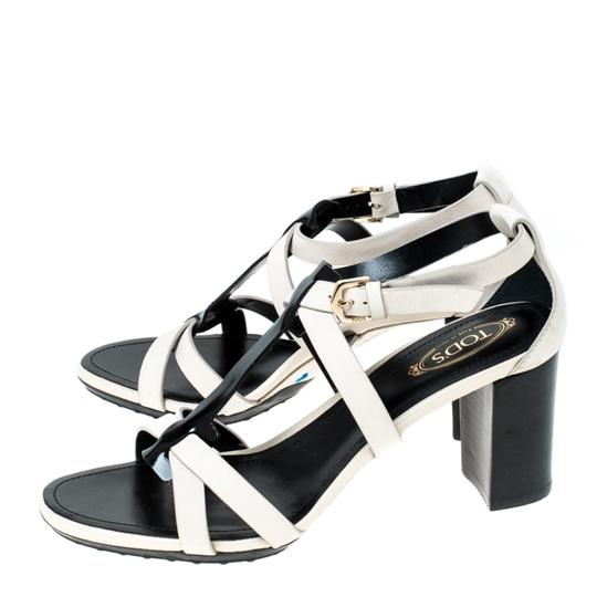 Tod's Nubuck Leather Ankle Strap White Sandals Image 4