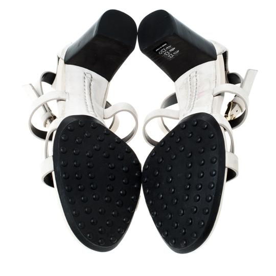 Tod's Nubuck Leather Ankle Strap White Sandals Image 6