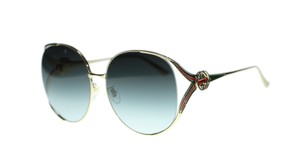 Gucci Gucci Sunglasses GG0225S 001 Gold Round with Red/Green Temple 63mm