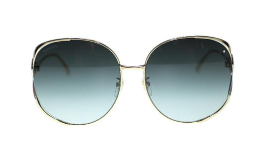 Gucci Gucci Sunglasses GG0225S 001 Gold Round with Red/Green Temple 63mm Image 1