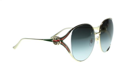Gucci Gucci Sunglasses GG0225S 001 Gold Round with Red/Green Temple 63mm Image 2