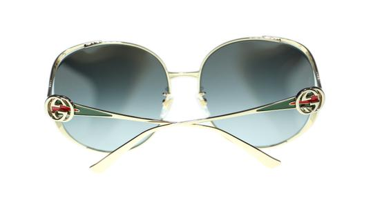 Gucci Gucci Sunglasses GG0225S 001 Gold Round with Red/Green Temple 63mm Image 3