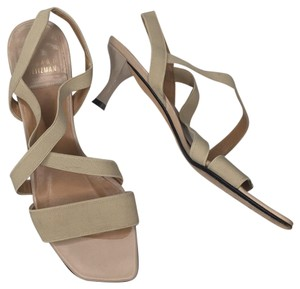 Stuart Weitzman Elastic Simple Elegant Kitten Heel Tan Sandals