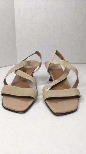 Stuart Weitzman Elastic Simple Elegant Kitten Heel Tan Sandals Image 1