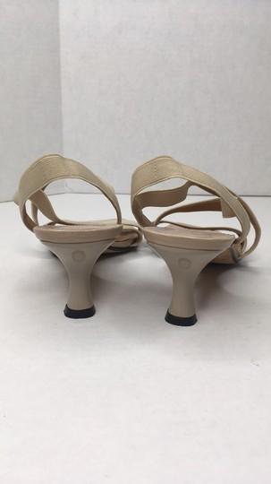 Stuart Weitzman Elastic Simple Elegant Kitten Heel Tan Sandals Image 2