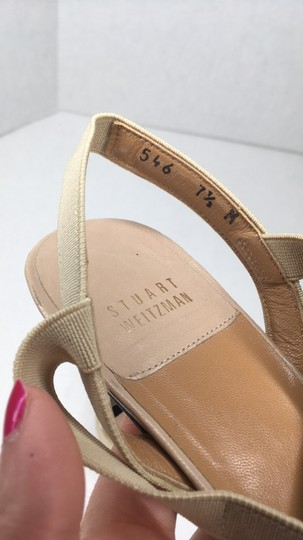 Stuart Weitzman Elastic Simple Elegant Kitten Heel Tan Sandals Image 5