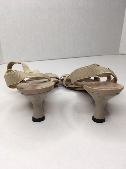 Stuart Weitzman Elastic Simple Elegant Kitten Heel Tan Sandals Image 7
